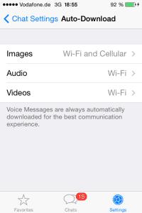 Auto Download für Audio und Videos nur bei WLAN-Verbindung erlauben