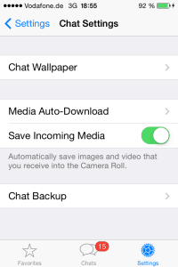 Media Auto-Download in Chat-Einstellungen bei WhatsApp