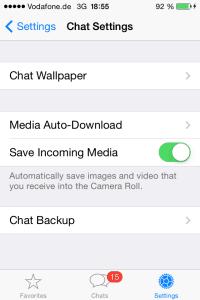Media Auto-Download in Chat-Einstellungen bei WhatsApp